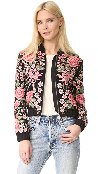 needle thread embroidery rose bomber jacket online cheap online. Black Bedroom Furniture Sets. Home Design Ideas