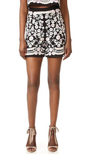 Needle & Thread Prairie Embroidery Shorts In Washed Black