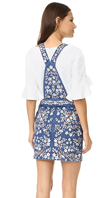 Needle & Thread Denim Embroidery Pinafore Dress