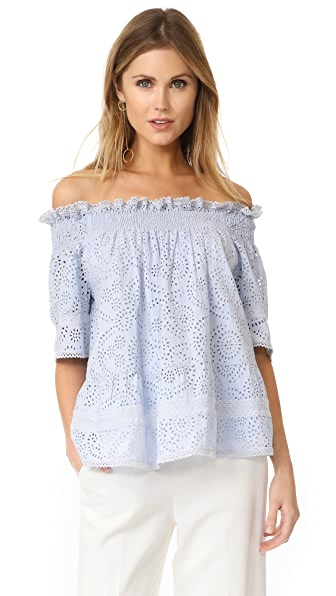 Needle & Thread Off the Shoulder Top - Dust Blue