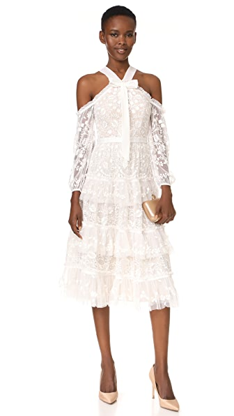 Needle & Thread Primrose Dress In Ivory