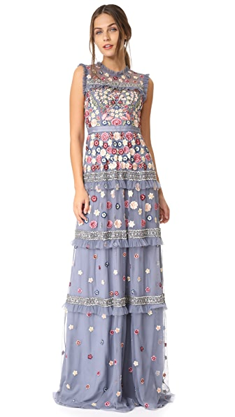 Needle & Thread Floral Jet Gown - Vintage Blue