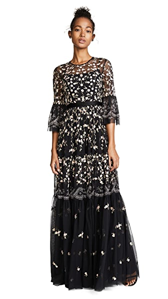Allover Embroidered And Embellished Maxi Gown With Fluted Sleeves - Black