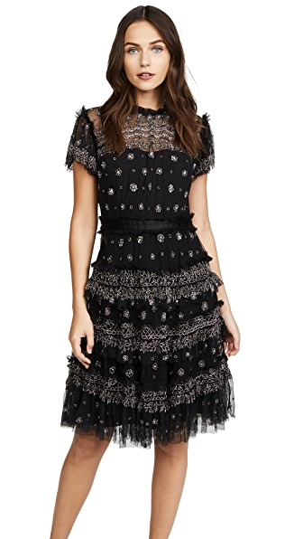 Needle & Thread Andromeda Dress In Washed Black