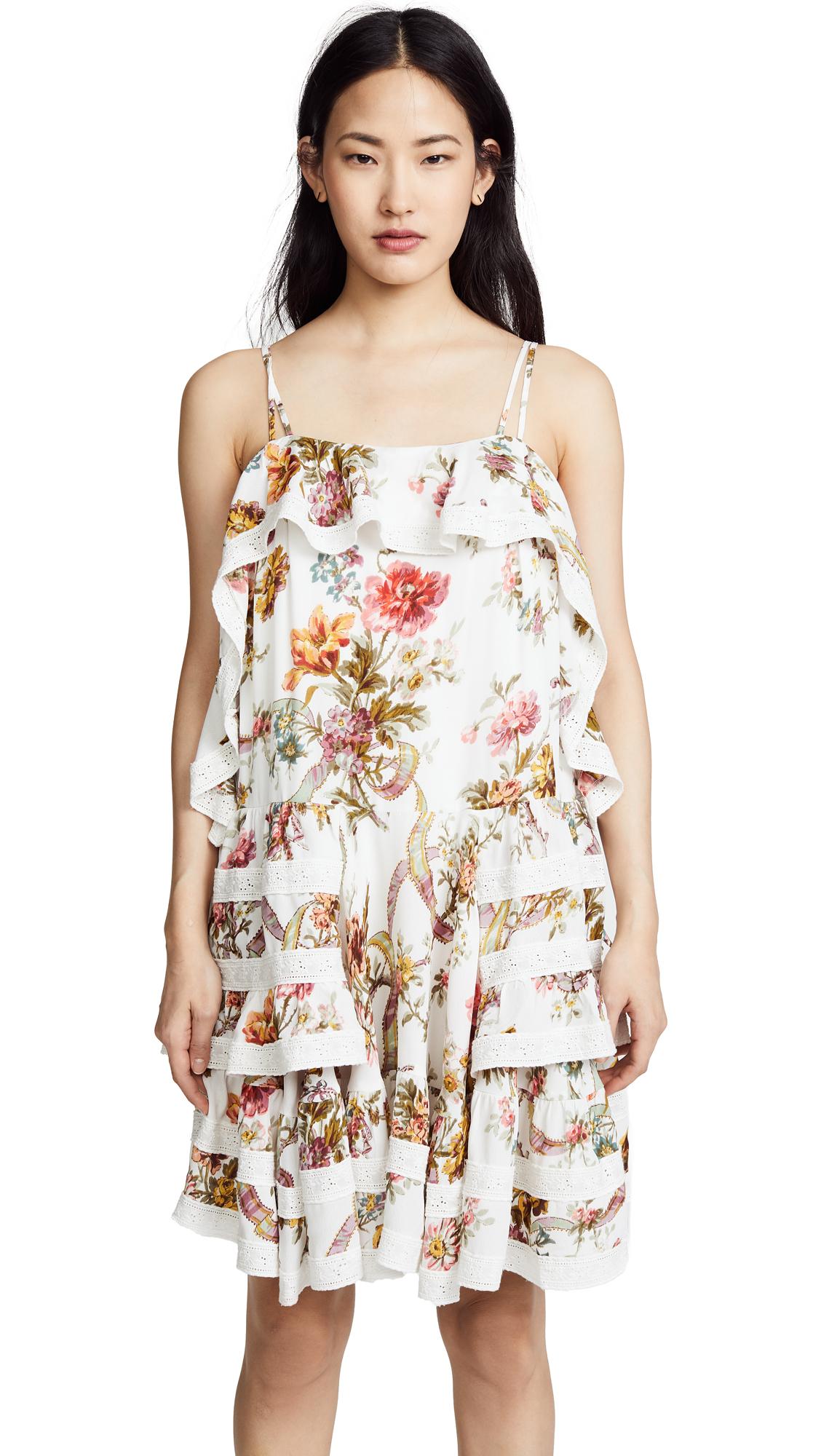 Needle & Thread Rainbow Rose Ruffle Dress In Ivory