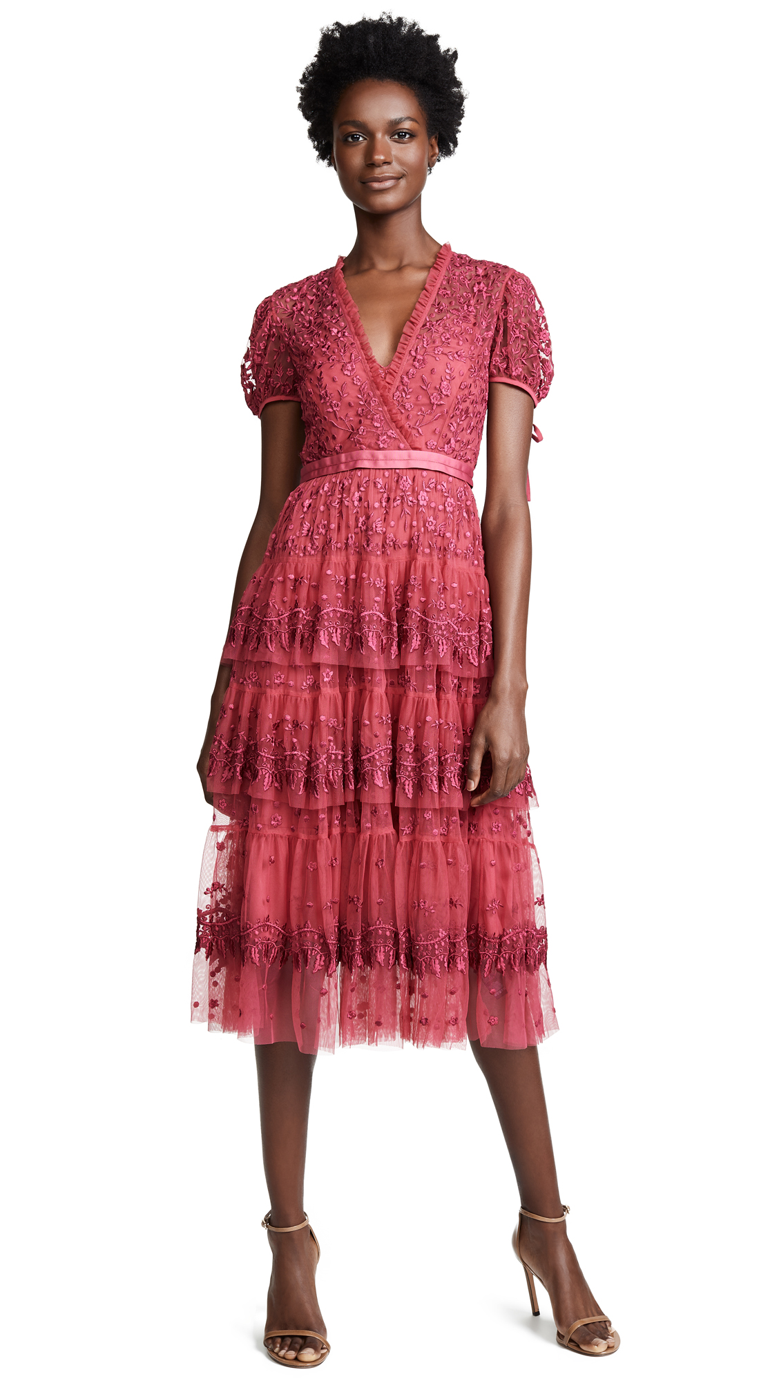 Needle & Thread Layered Lace Dress In Heather