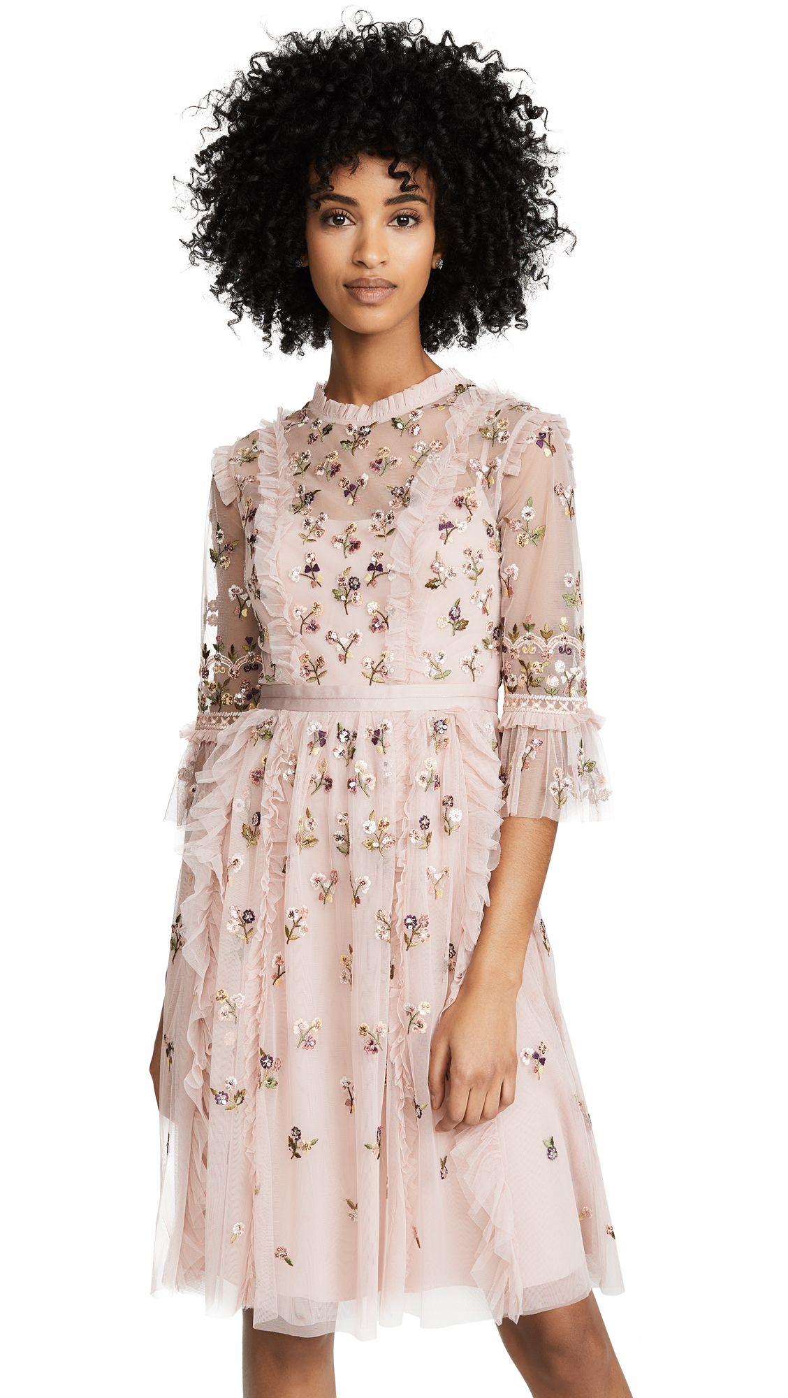 Needle & Thread Rocco Ditsy Dress - Rose Pink