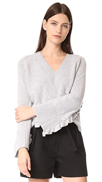NUDE V Neck Sweater In Light Grey
