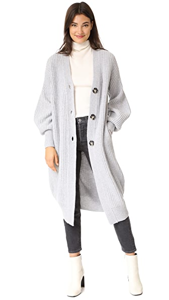NUDE Knit Cardigan In Light Grey