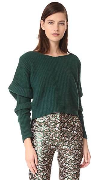 NUDE V Neck Sweater - Dark Green