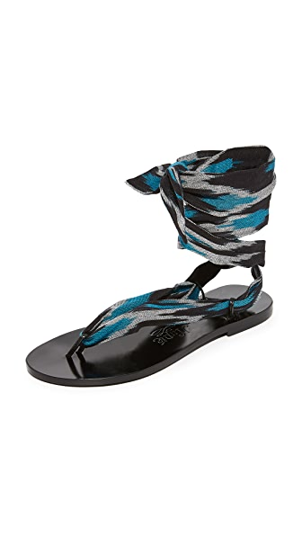 Nupie Nupie Wrap Sandals In Ikat Black/Black