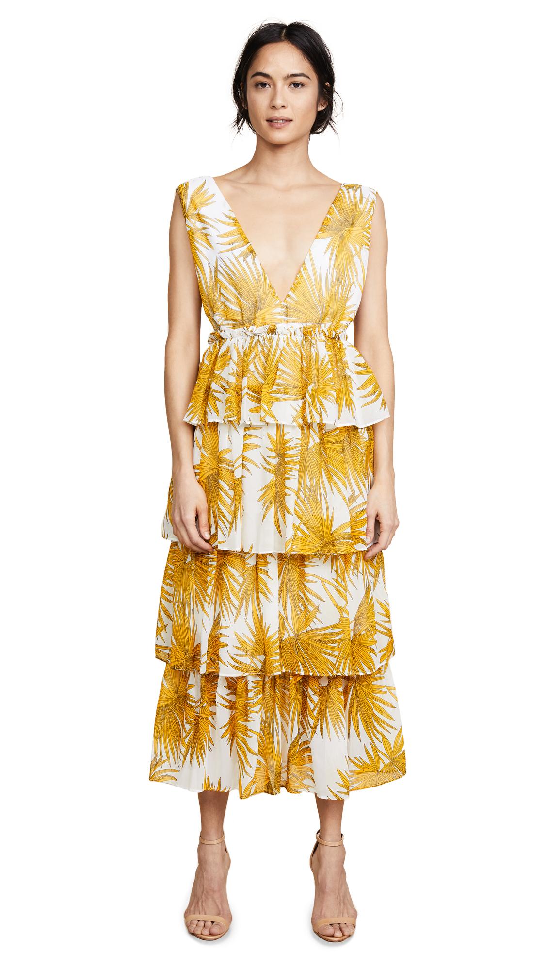 NIGHTWALKER The Georgina Dress in Gold/Off White