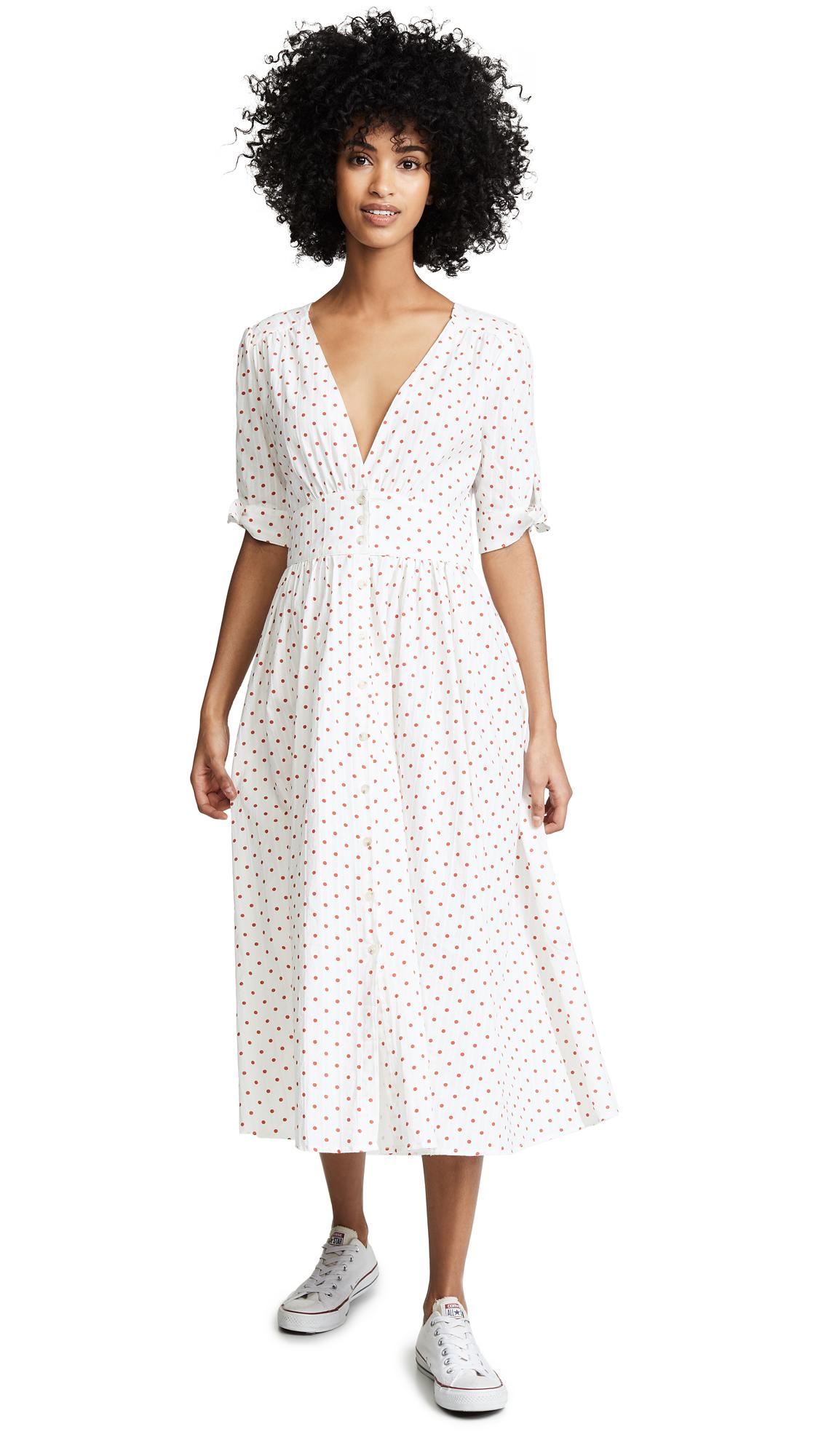 NIGHTWALKER Ludlow Dress in White/Red Polka Dot