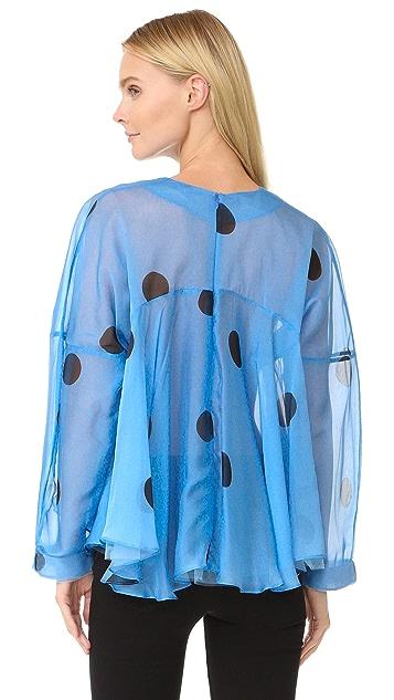 Natasha Zinko Silk Twill Floral Print Long Sleeve Caftan Top