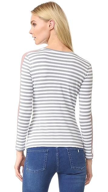 Natasha Zinko Jersey Lace Stripe Top