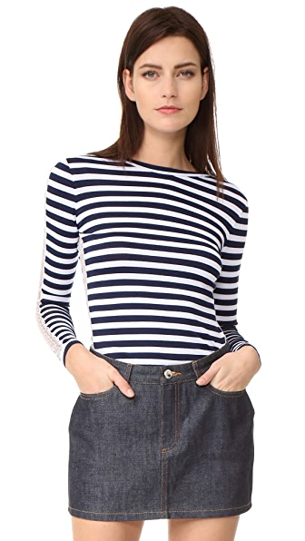 Natasha Zinko Striped Long Sleeve Top - Navy/White