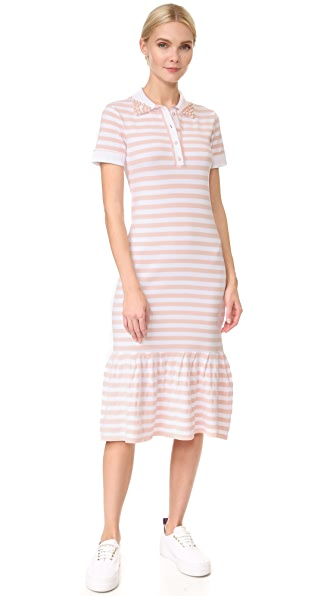 Natasha Zinko Short Sleeve Striped Dress - Peach/White