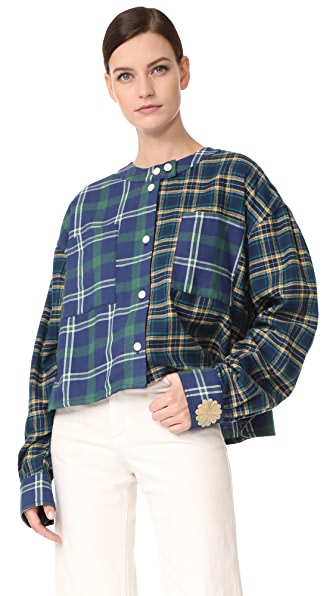Natasha Zinko Printed Oversized Cotton Plaid Shirt - Green/Yellow