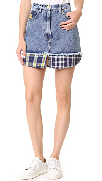 Natasha Zinko Denim Combo Mini Skirt - Denim