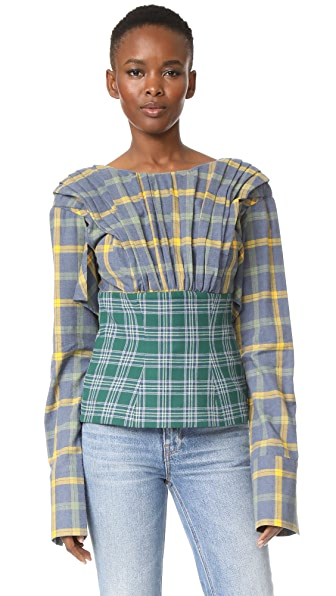 Natasha Zinko Cotton Plaid Top - Yellow/Green