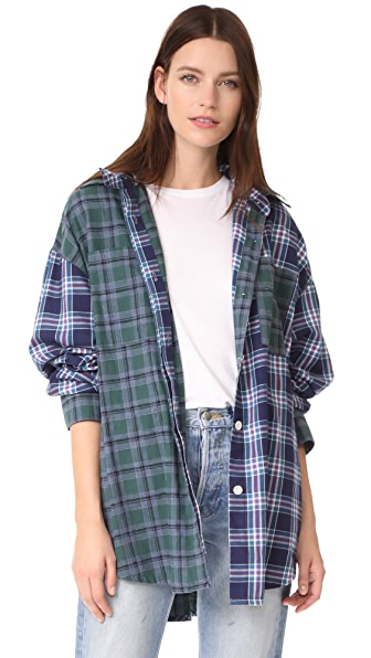 Natasha Zinko Oversized Hooded Plaid Shirt - Dark Green/Bordeaux