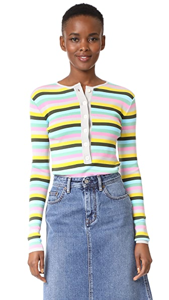Natasha Zinko Knit Striped Long Sleeve Top - Multi