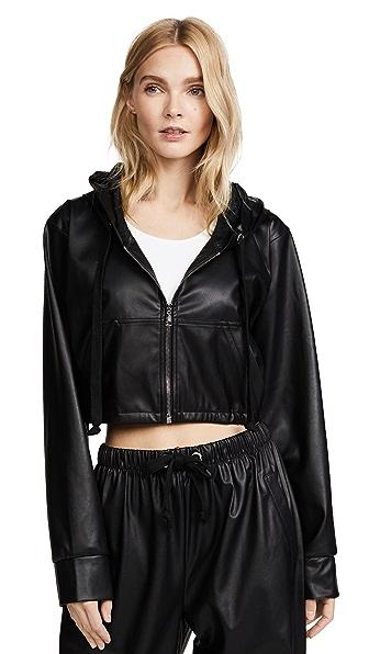 Natasha Zinko Faux Leather Zip Front Jacket In Black