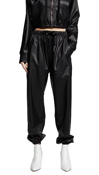 Natasha Zinko Faux Leather Joggers In Black