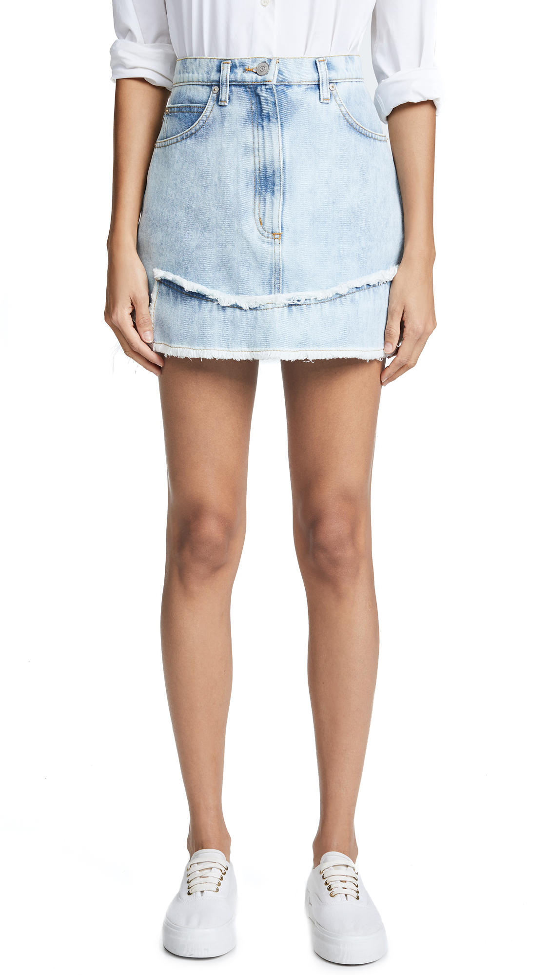Natasha Zinko Denim Printed Miniskirt In Light Wash