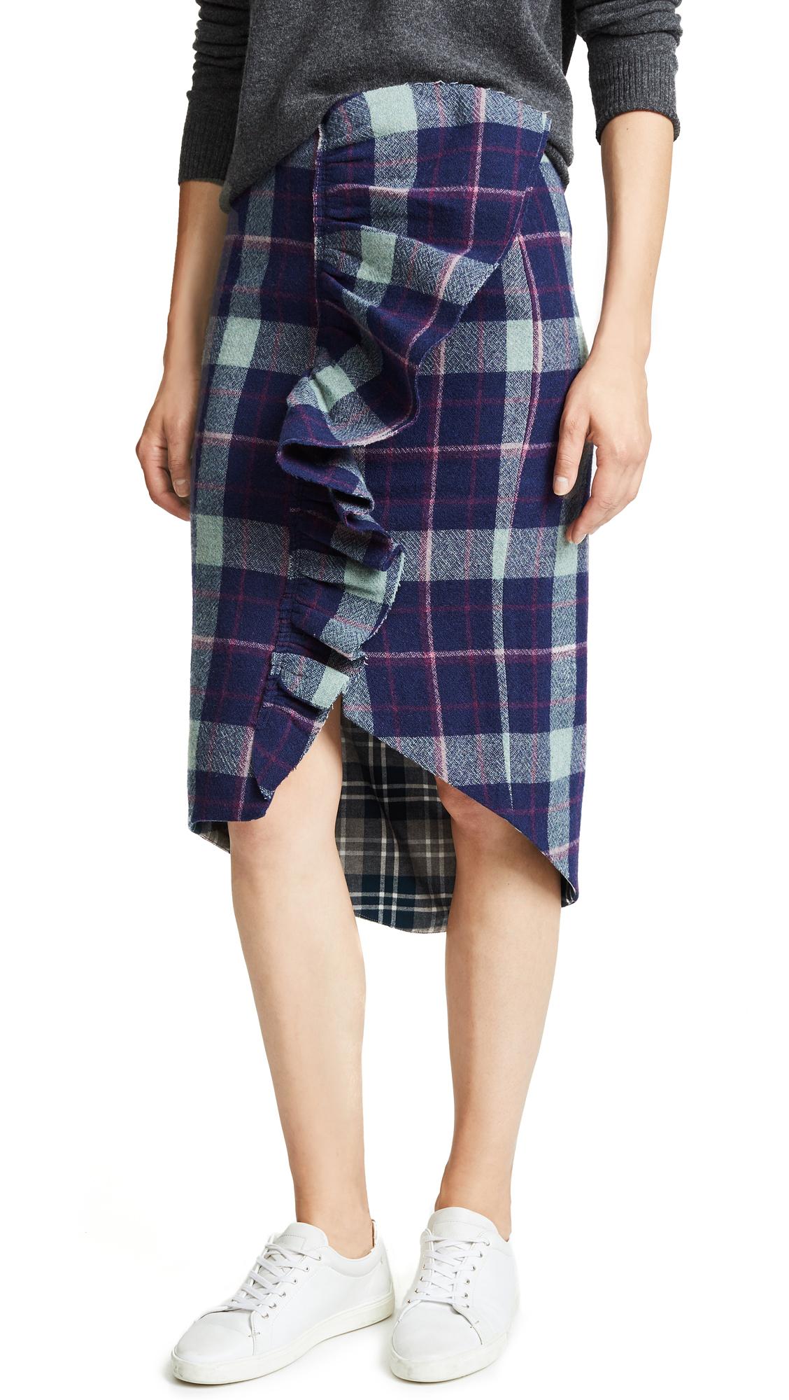 Natasha Zinko Plaid Frilled Pencil Skirt In Navy