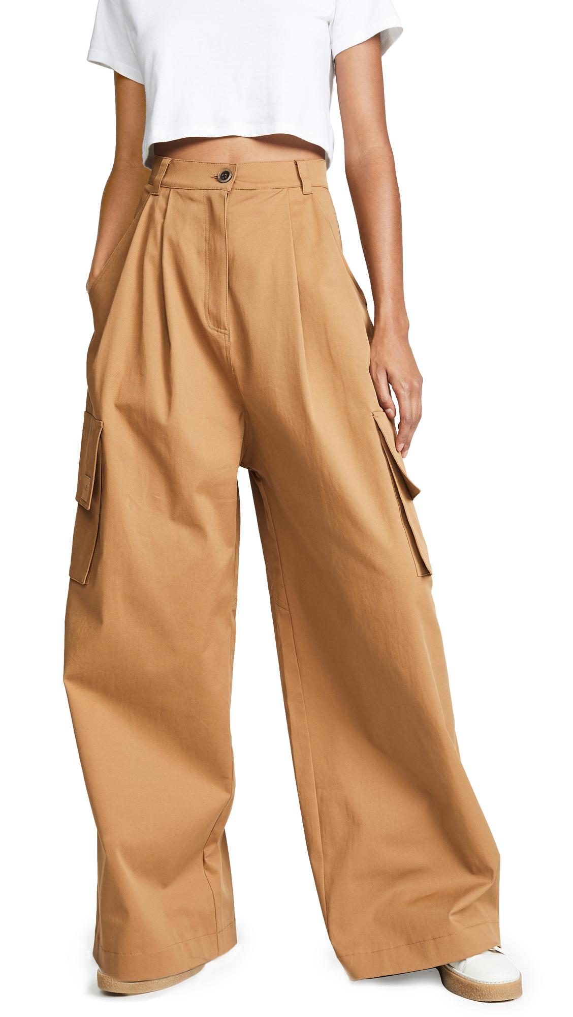 Natasha Zinko Wide Leg Cargo Trousers In Beige