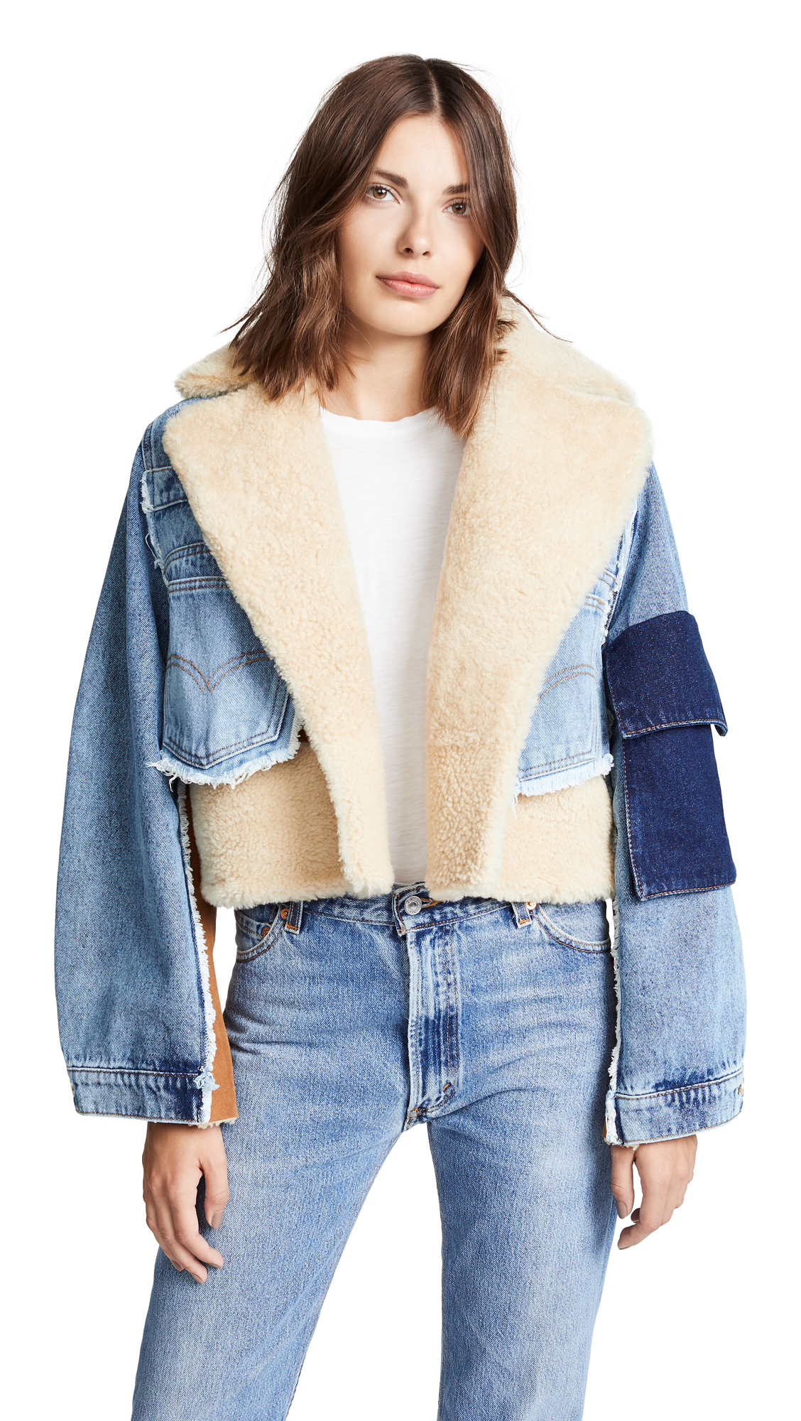Natasha Zinko Denim Shearling Combo Crop Jacket