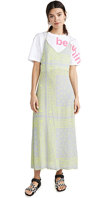 Natasha Zinko T-Shirt Printed Maxi Slip Dress