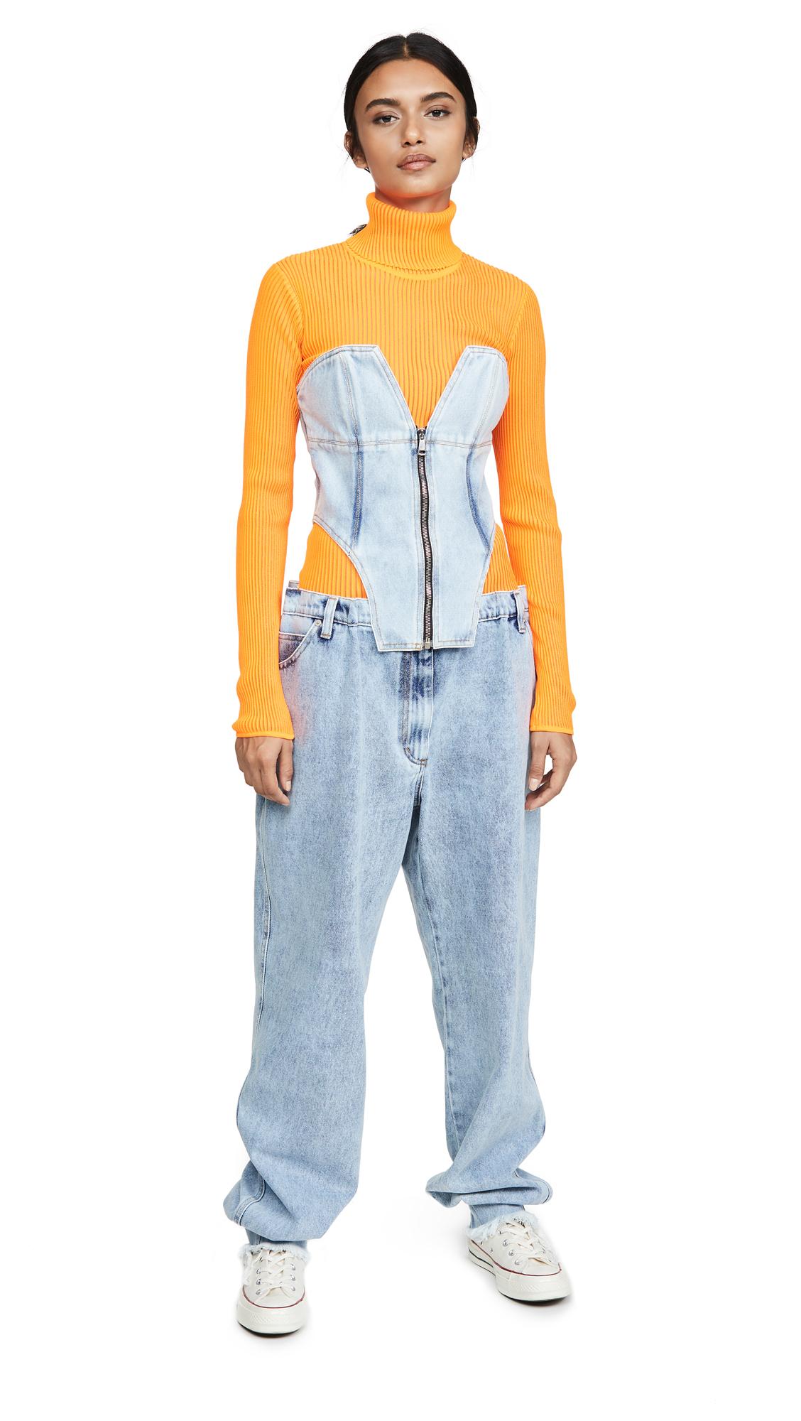 Buy Natasha Zinko online - photo of Natasha Zinko Zipped Front Corset Denim Overalls
