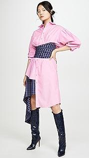 Natasha Zinko Corseted Wrap Around Midi Shirt Dress