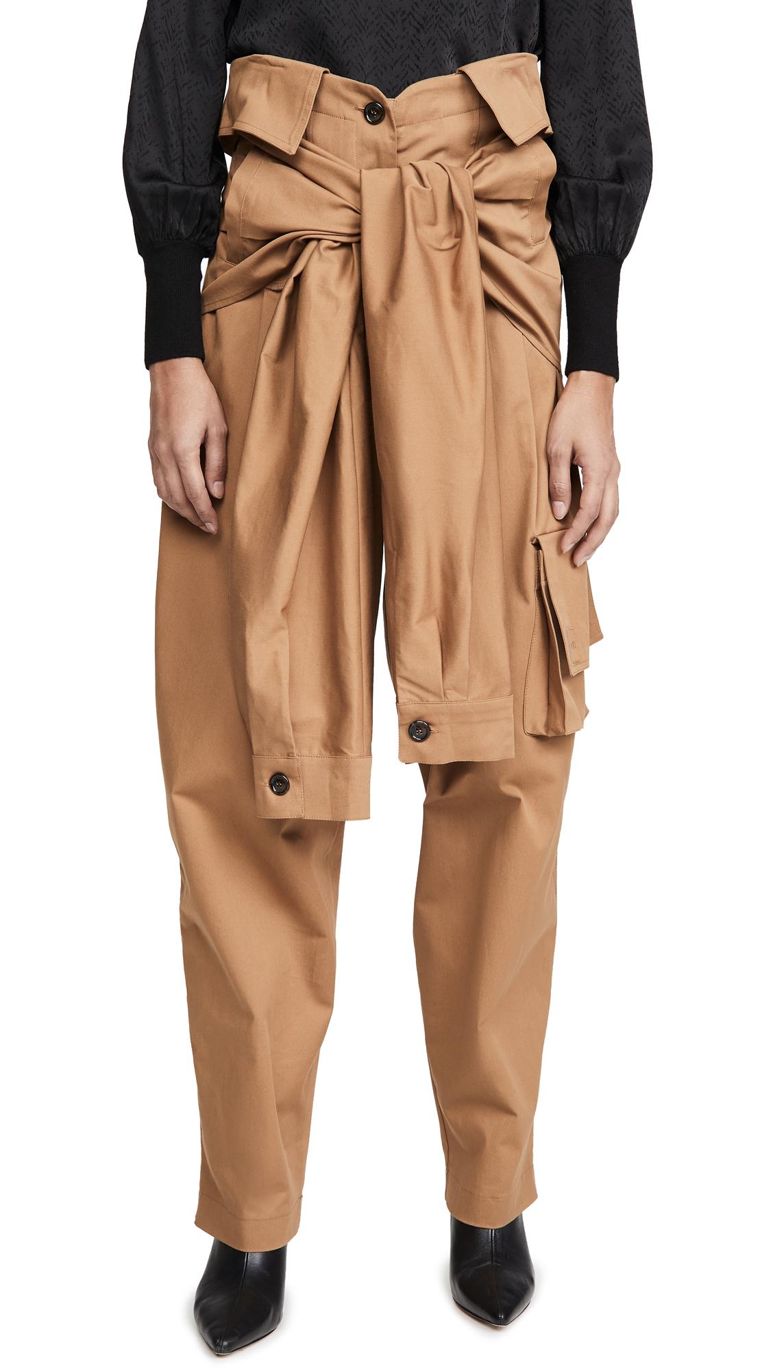 Buy Natasha Zinko online - photo of Natasha Zinko Cargo Tied Sleeves Collar Waist Trousers