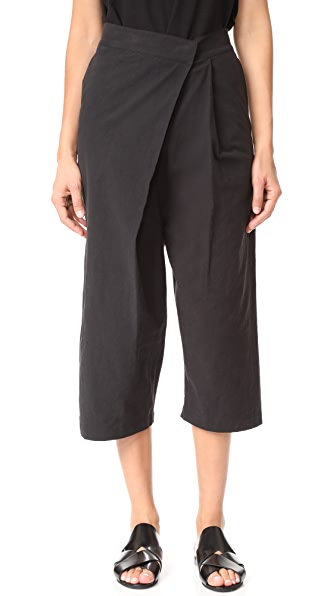 Oak Pleat Leg Pants - Black