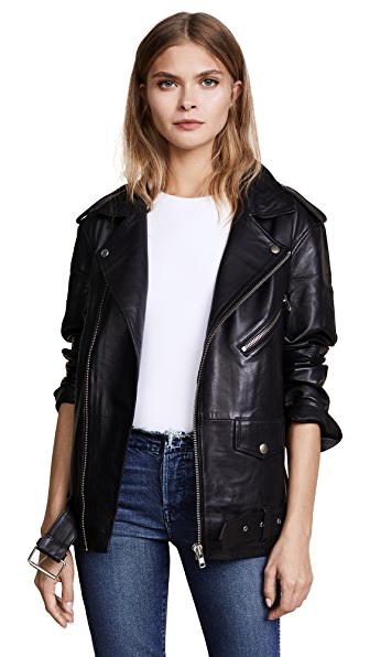 Oak LA Roamer Leather Jacket In Black