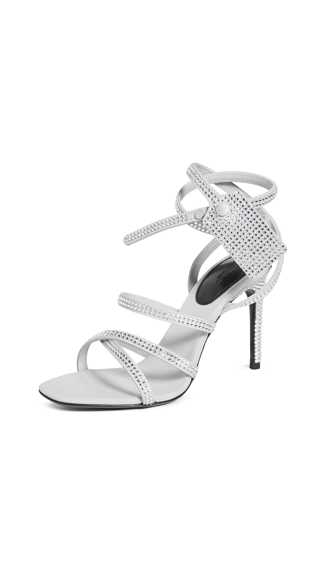 Buy Off-White online - photo of Off-White Crystal Satin Zip Tie Sandals