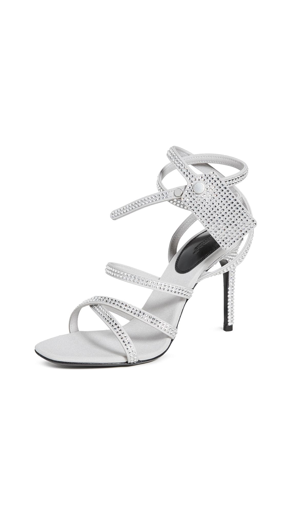 Buy Off-White Crystal Satin Zip Tie Sandals online, shop Off-White