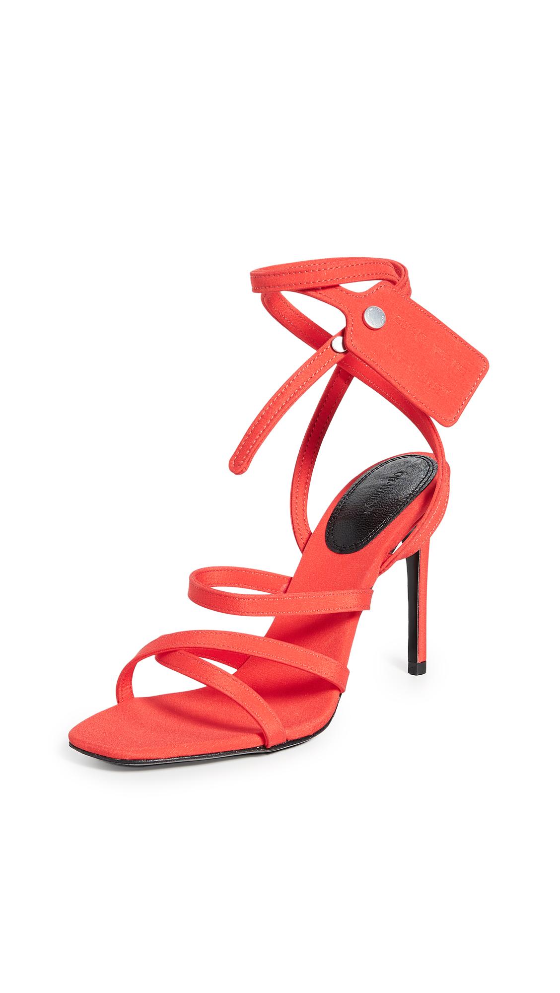 Off-White 100Mm Zip Tie Silk Satin Sandals In Orange