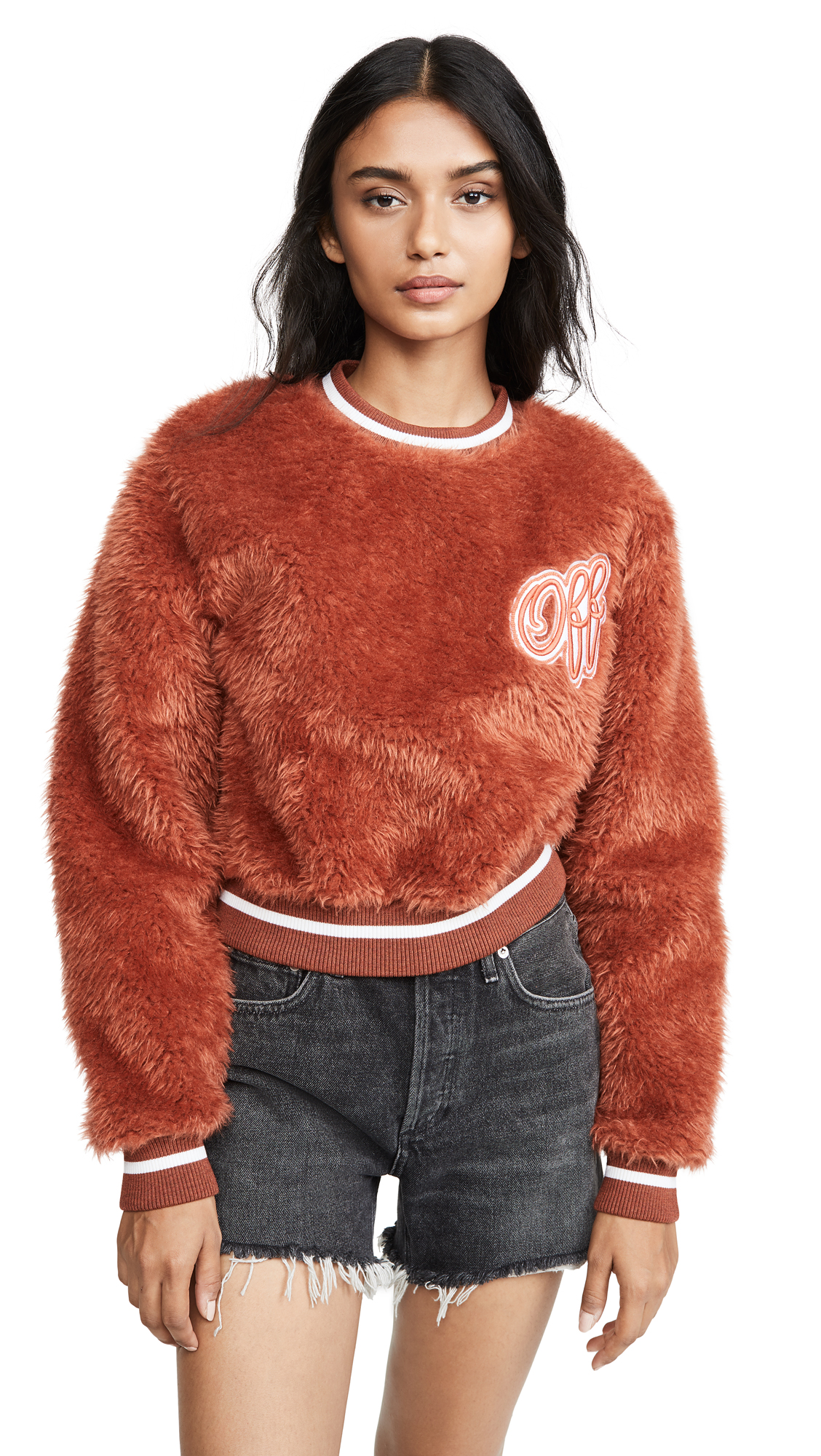 Buy Off-White online - photo of Off-White Faux Fur College Crew neck
