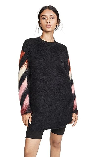Off-White Diagonal Intarsia Mohair Sweater Dress