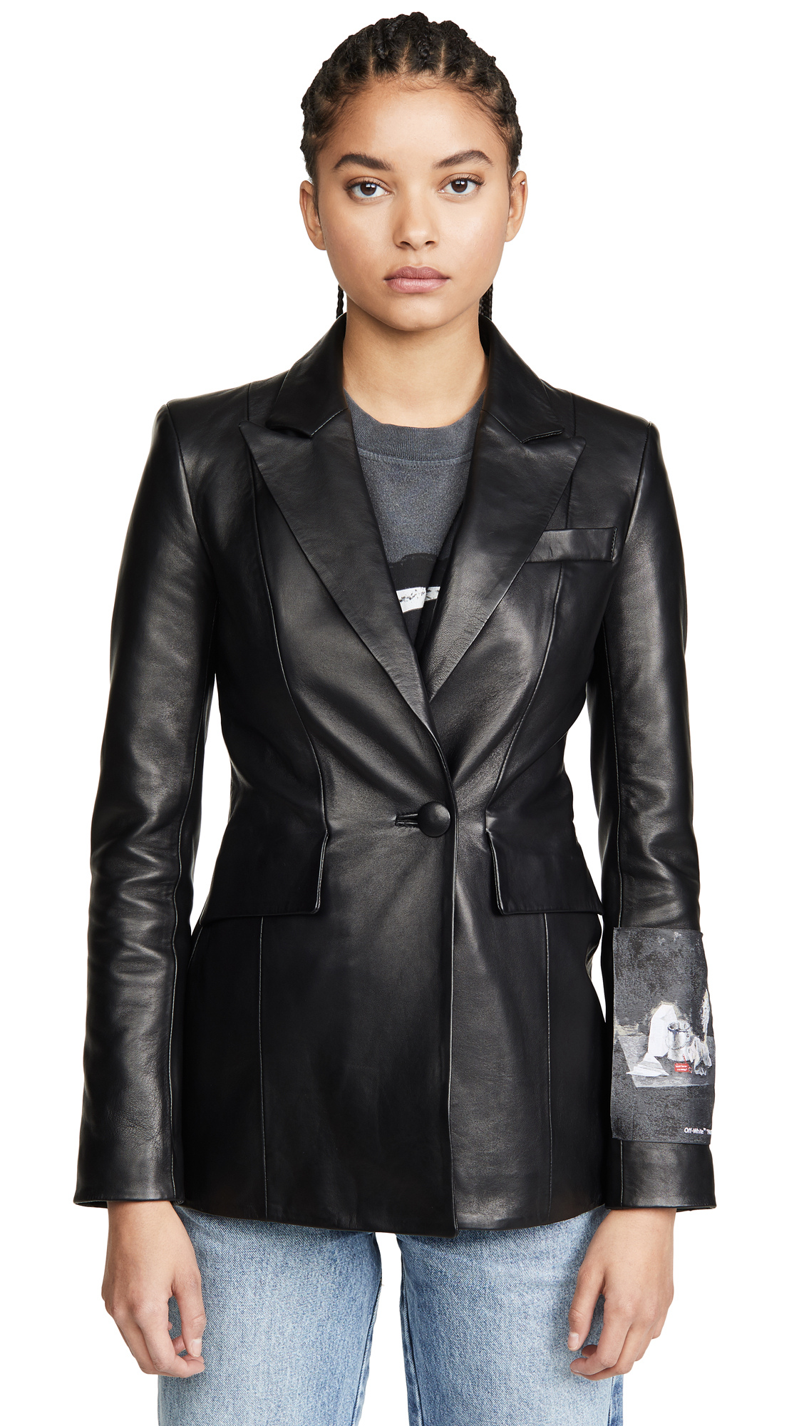 Buy Off-White online - photo of Off-White Leather Fitted Jacket