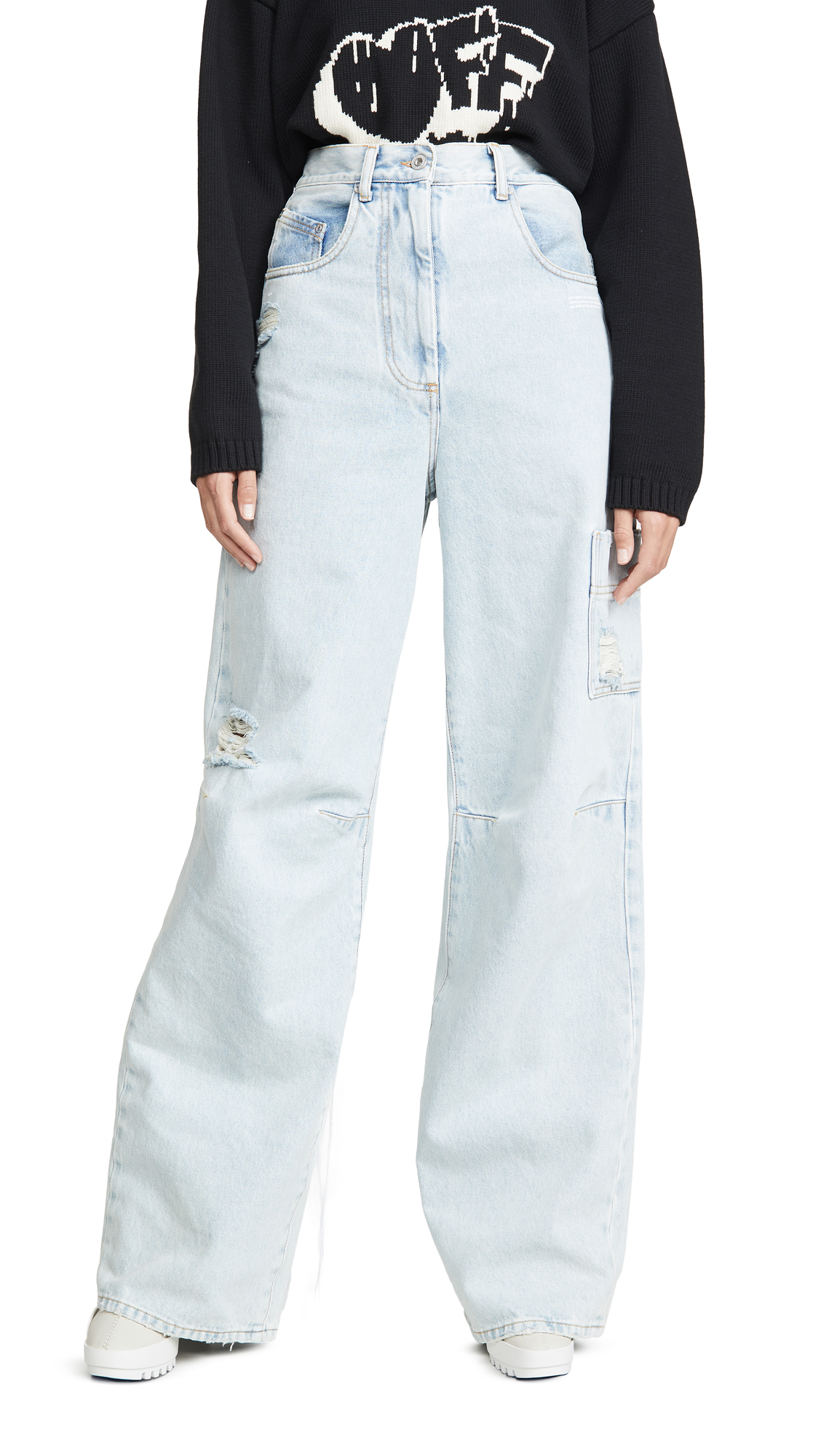 Buy Off-White online - photo of Off-White Oversize Tomboy Pants Bleach White