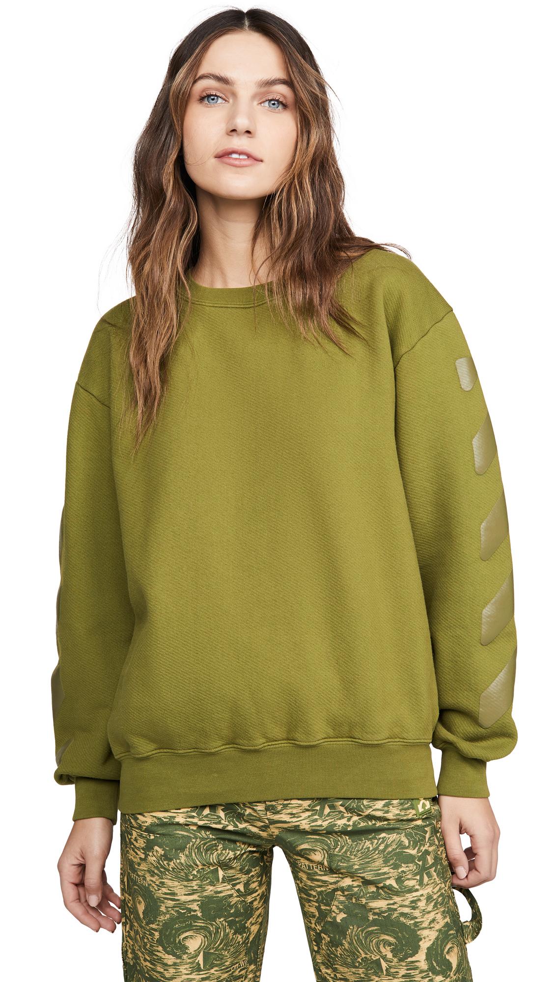 Off-White Diagonal Oversize Crew Neck Sweatshirt - 50% Off Sale