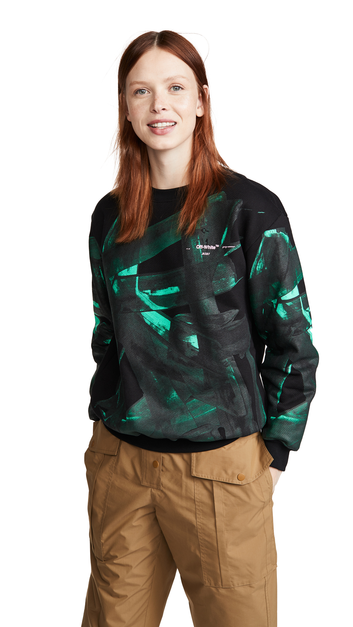 Off-White Green Brush Oversize Crew Neck Sweatshirt - 50% Off Sale