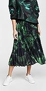 Off-White 绿色泼绘打褶半身裙