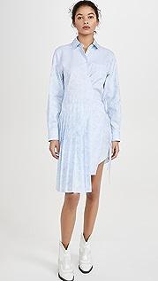 Off-White Waves Wrap Panel Shirt Dress