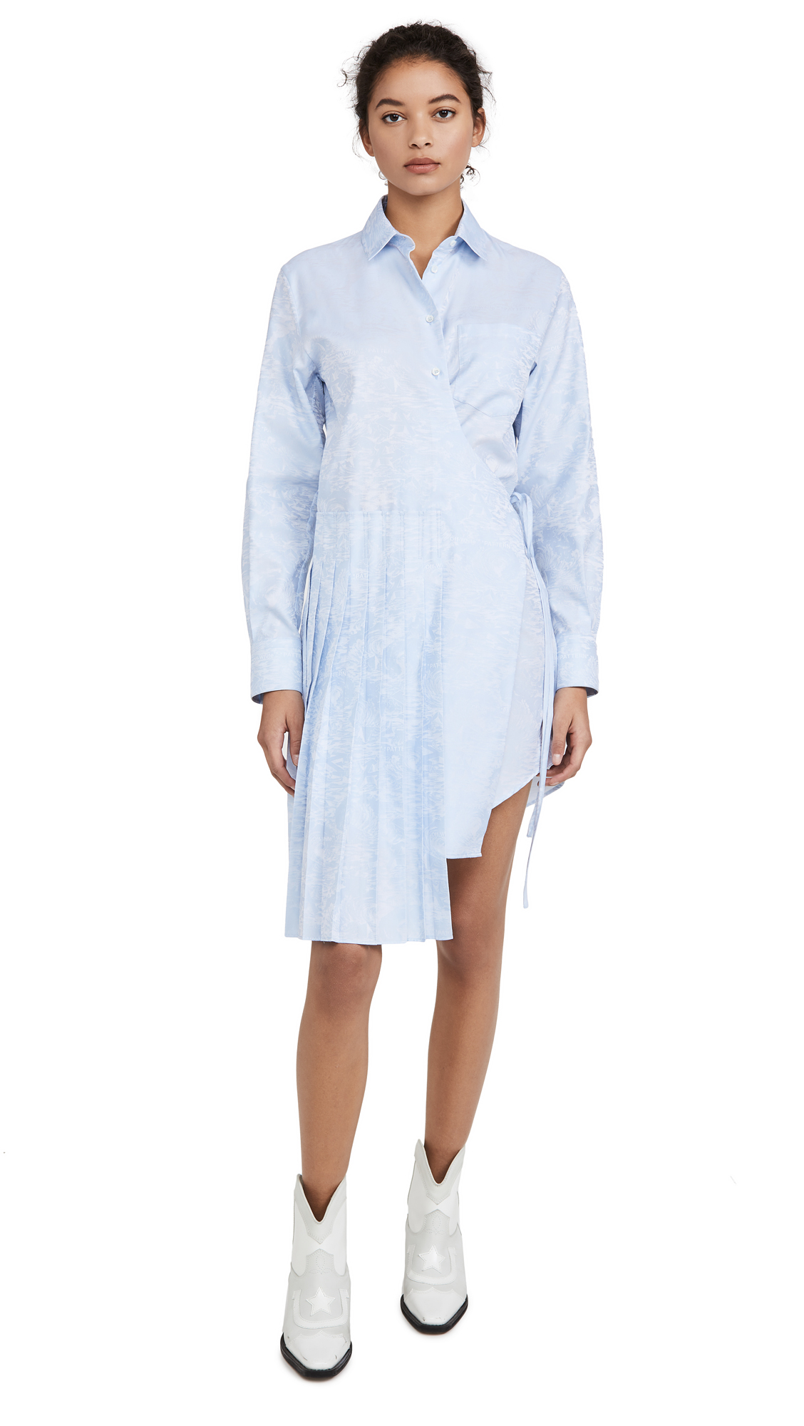 Off-White Waves Wrap Panel Shirt Dress - 50% Off Sale